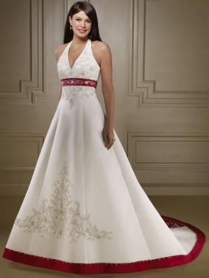 свадебное платье с красным поясом фото