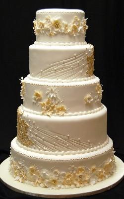 торт на свадьбу в золотом стиле