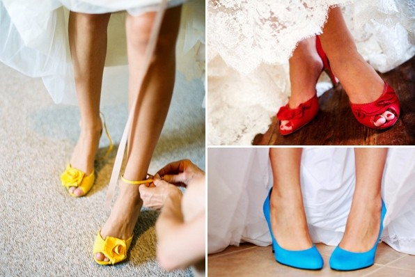 разноцветные туфли невесты