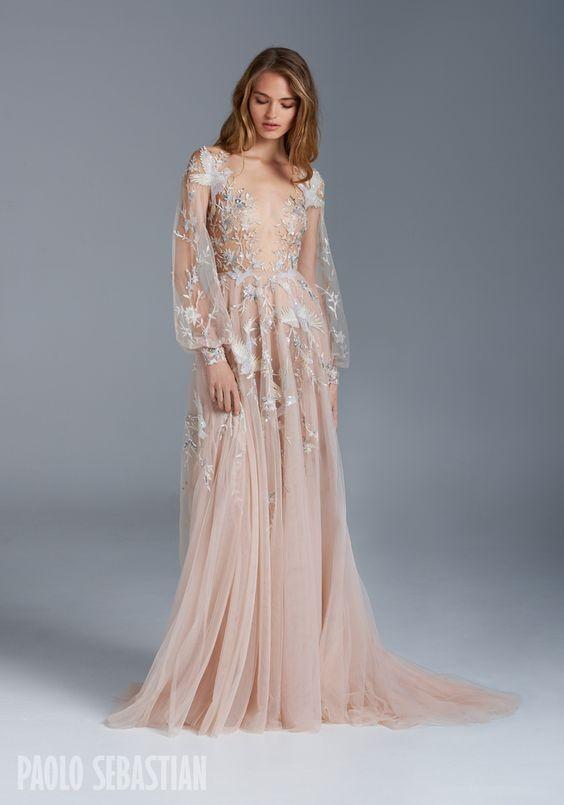 свадебное платье телесного цвета